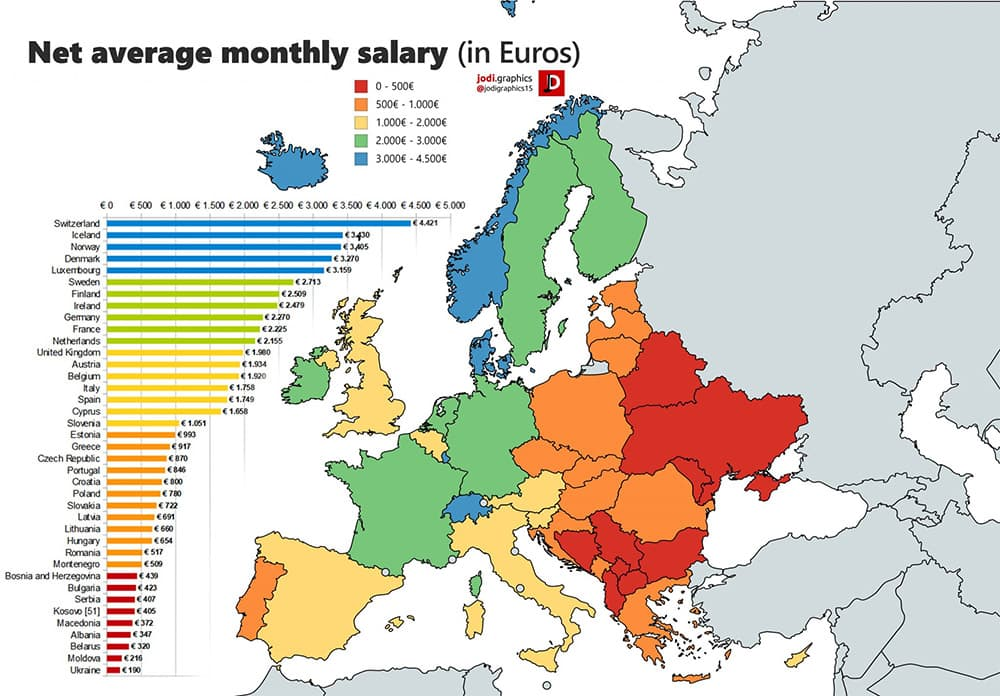 Average Salary Map for Europe in Euros
