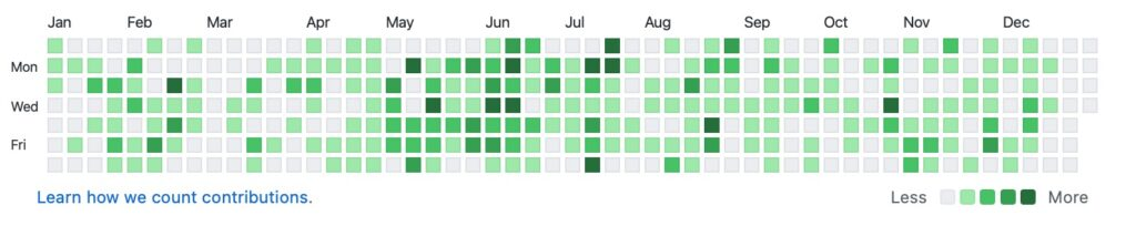 Github commits for the year